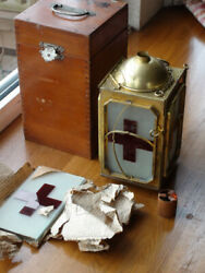 WW2 Former Japanese Army Medical supplies Red cross light Unused with wooden box
