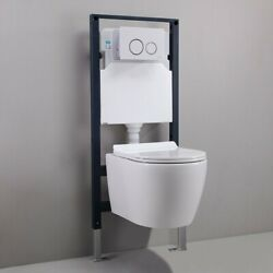 White Dual Flush Elongated Wall Hung Toilet Bedroom In Wall Tank Carrier System $545.19