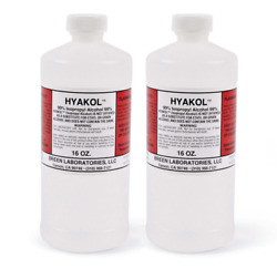 2 Bottles of HYAKOL 99% ISOPROPYL ALCOHOL Made in USA (2 x 16 oz.) Fast Shipping $24.50