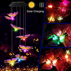 ⭐Color-Changing LED Solar Powered Butterfly Wind Chime Lights Yard Garden Decor⭐ $11.99