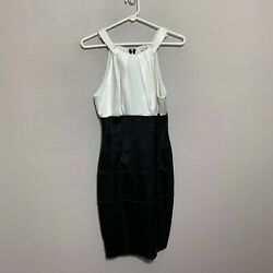 Xscape Joanna Chen Dress Black White Party Formal Sz 8 Stretch Fitted $20.97