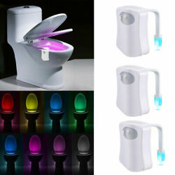 3 pcs Toilet Night Light LED Motion Activated Sensor Bathroom Bowl Lamp 8 Color $11.99