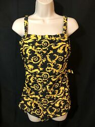 Island Pearls 1 Piece Black Gold Yellow Damask Skirted Bathing Suit Size 14 $29.99