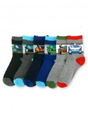 NEW MIXED LOT OF 6 PAIRS TODDLER BOYS NOVELTY VEHICLE CREW SOCKS $8.99