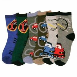 NEW MIXED LOT OF 6 PAIRS TODDLER BOYS NOVELTY CARS CREW SOCKS $8.99
