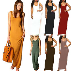 Womens Sleeveless Stretch Slip Maxi Dress Summer Beach Holiday Jersey Sundress $16.05