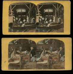 2 1860S STEREOVIEW PHOTO Occupational Fishing Boats Tinted Civil War Tax Stamps