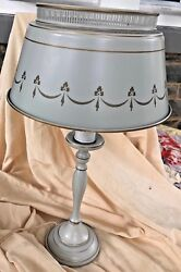 Vintage Table Lamp amp; Shade Metal Toleware Gold Trim Light Gray 20quot; Tall $107.99
