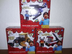 3 Ryan's World Helicopter Fire Truck Bulldozer Building Block Sets With Figures $24.99