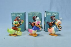 Vintage LOT of 3 WOODEN EASTER NOVELTY DUCK FIGURES HAND CARVED amp; PAINTED #09873 $12.00
