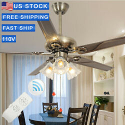 52inch Ceiling Fan Lamp Remote Control Light Stainless Steel Chandelier Bronze $99.99