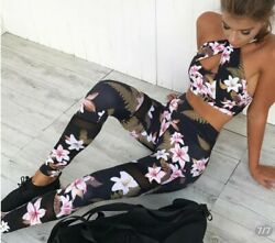 Women Sportswear 2 Piece Set Lily Crisscross Crop Top Yoga Floral... $39.99