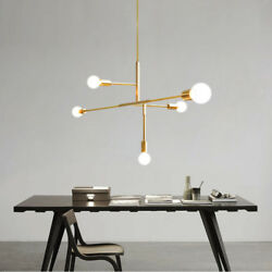 5 Light Nordic Simple Chandeliers Modern Gold Metal Pendant Lamp Ceiling Fixture $74.39