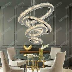 Crystal LED Modern Chandeliers Pendant Lamp Round Ceiling Light Ring Adjustable