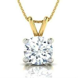 NECKLACE ROUND VVS2 4 PRONG PENDANT COLORLESS WEDDING 14 KARAT YELLOW GOLD 2 CT