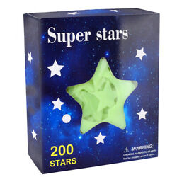 200 Glow in the Dark Stars w Glow Moon Stickers Bedroom Wall Room Decor DIY $9.59