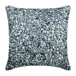 14quot;x14quot; Decorative Silk Pillow Cover Teal Blue Bling Antique Silver Treasure $34.82