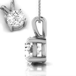 SOLITAIRE ROUND CUT NECKLACE 3 CARAT 18 KT WHITE GOLD 4 PRONGS CERTIFIED WEDDING