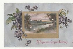 All Happiness for Your Birthday River Swans Frederick Vintage Postcard 1909 $1.00
