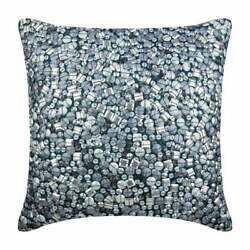 Silk 20quot;x20quot; Handmade Throw Pillow Teal Blue Bling Antique Silver Treasure $39.63
