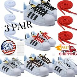 3 Pair Flat & Wide Shoelaces for Sneakers and Shoes 8 Different Lengths 5 Colors $11.99