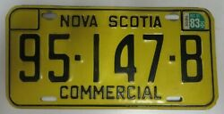 Vintage 1983 NOVA SCOTIA License Plate Tag 95 147 B Commercial Canada