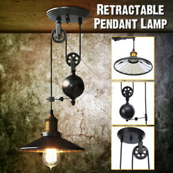 Pendant Light Fixture 1 Light Industrial Black Rustic Iron Pulley Lamp Hanging $36.99