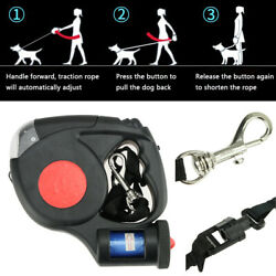 16FT Automatic Retractable Dog Leash Pet Collar With 3 LED Light amp; Garbage Bags $13.19