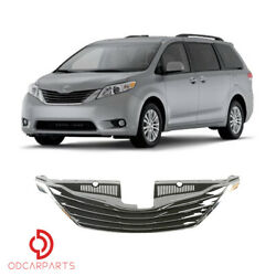Fits Toyota Sienna 2011-2017 Front Upper Grille Grill Gloss Black and Chrome $72.00