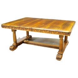 Antique Table Dining Extension French Carved Walnut 19th C. 1800s. Classic $1283.69
