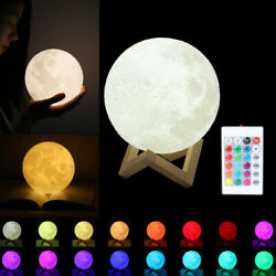 3D Moon Lamp USB LED Night Light Moonlight Touch Sensor 16 Color Changing+Remote $16.99