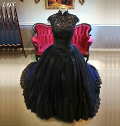 Black Gothic Wedding Dresses with Keyhole Back Custom Bridal Gown Beaded Sequins