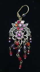 Michal Negrin Multi Color Chandelier On Lace Earrings NIB $90.00