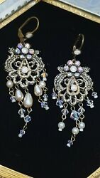 Michal Negrin Bridial Chandelier On Lace Earrings NIB $90.00