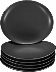 Bruntmor Ceramic Dinner Plates Set of 6 For Home Restaurant Matte Black 11 In $41.95