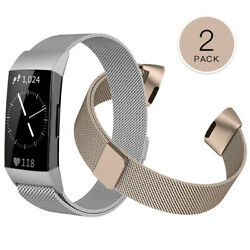 2PCS For Fitbit Charge 4&3 SE Stainless Steel Milanese Magnetic Band Strap $11.99