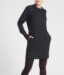 ATHLETA WOMEN#x27;S BLACK LONG SLEEVE BOUNCE BACK SWEATSHIRT DRESS Sz S $51.29
