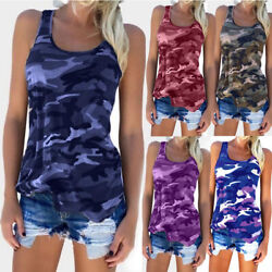 Plus Size Womens Summer Camo Vest Top Sleeveless Camouflage Tank Top T-Shirt Tee $10.59