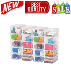 20 Pack Shoe Storage Boxes Plastic Bin with Lid Stackable Design Container Clear $48.09