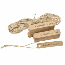 Handmade with Love Labels Hang Tags Blank Kraft Paper String Craft 100X Lots $4.49