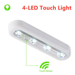 Cordless 4-LED Under Cabinet Push Tap Touch Stick On Night Light Lamps Batteries $4.68