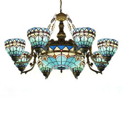 Large LED Chandelier Blue Stained Glass Tiffany Baroque Shade Pendant Fixtures $449.00