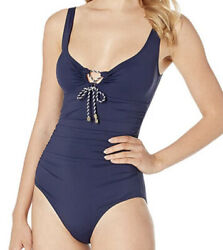 NWT Ralph Lauren Beach Club Solids Laced Over The Shoulder Swimsuit Navy Size 12 $34.99