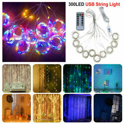 300 LED Fairy String Lights Curtain Window Wedding Party Decor Remote Outdoor US $12.97