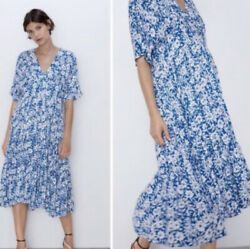 Zara Blue And White Floral Dress $45.00