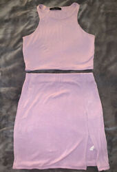 Lavender Skirt And Crop Top 2pc Set $20.00