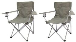 2 Pack Quad Folding Camping Chair Steel Frames One Armrest Gray Outdoor Seat NEW $30.98