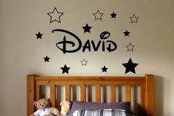 PERSONALISED DISNEY STYLE NAME AND STARS WALL STICKERS KIDS WALL BEDROOM GBP 7.99
