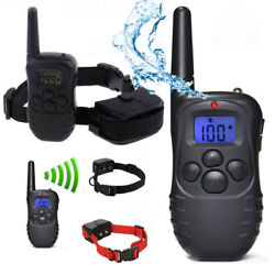 Waterproof 1000 Yard 2 Dog Shock Training Collar Pet Trainer with Remote Battery $24.49