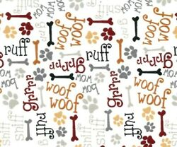 FAT QUARTER FABRIC DOG DOGS PUPPY BONES PAWS WORD COTTON BOW WOW WOOF RUFF FQ $3.95